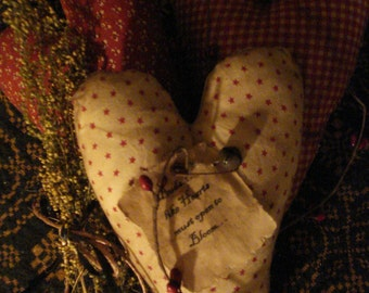 SALE!!!   Primitive Set of Three Heart Ornies, Sweet Annie, Pip Berries, Valentine's Day Was 15.00, now 12.00