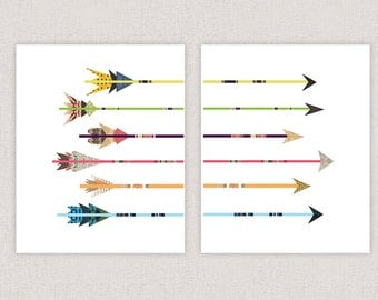 Colorful Arrows Art Print Collages - Poster Print Wall Decor - Collage Art Giclee Print