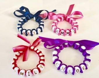 Pearl Name Ribbon Bracelet, Flower Girl Ribbon Bracelet, Personalised Pearl Bracelets, Baptism Jewelry, Christening Gift, Baby Shower