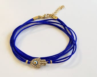 Wrap Evil Eye Bracelet, Blue Evil Eye Bracelet, Hamsa Hand Cobalt Blue Jewelry, Boho Jewelry, Gypsi Bracelet, Amulet Charm Bracelet, Gift