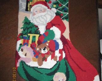 Santa Delivering Christmas Needlepoint  Stocking
