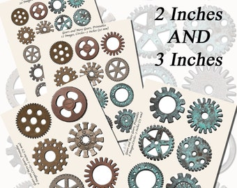 Gears, Gears, Gears--Gear Printables, EXTRA LARGE CIRCLES, 1.5 inch, 2 inch, and 3 inch circles (38mm, 50mm, and 75 mm)