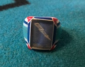 Vintage Celluloid Bakelite Folk Art Prison Ring by Bob Dodd (Size 9) - Martinsville High School Bluestreaks