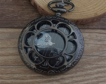 1Pcs  45mmx45mm Gunmetal black  color pocket watch charms pendant
