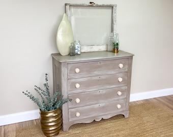 Farmhouse Dresser - Antique Chest of Drawers - Unique Bedroom Furniture - Distressed Dresser - Real Wood Furniture - Hand Painted Dresser