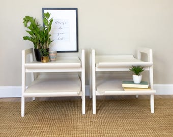 Mid Century End Tables - White Modern End Tables - Modern Side Tables - 1950s Furniture - Sofa Side Tables - Mad Men Furniture