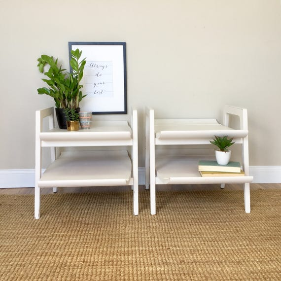 Mid Century End Tables - White Modern End Tables - Modern Side Tables - 1950s Furniture - Sofa Side Tables - Mad Men Furniture - Unique
