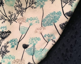 Adult Minky Throw, Dorm Room Blanket, Teal and Navy Minky Blanket, Couch Throw, Floral Minky Blanket Adult Minky Blanket,Size 50 x 58 inch