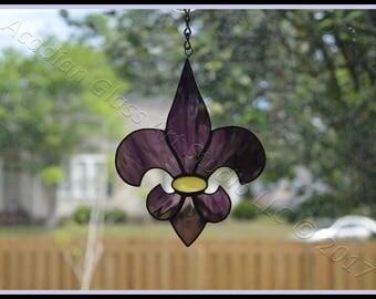 Purple and Gold (LSU) Fleur de Lis Stained Glass Suncatchers