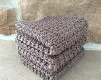 Hand Knit Cotton Dish Cloths -  Set of 3 Brown - 100% Cotton - Spa Washcloth - Eco-Friendly