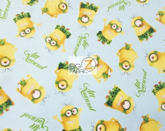 """100% Cotton Fabric  By Quilting Treasures - Minions All Natural Hawaii - 45"""" Width Sold By The Yard (FH-3074) Decor Clothing Licensed"""