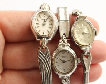Vintage Set of Three Watches, Elgin, Caravelle Bulova, Benrus, Wrist Watch Jewelry, Bracelets, Circa 1940's