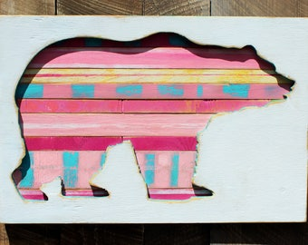 Bear shadow box,wood sign,pink, polar bear,kids room, nursery, girls room, beach decor, pallet,, cabin art, wall art