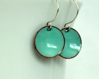 Robin's Egg Blue Enamel Earrings - Enamel Jewelry