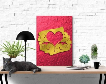 Faux Red,  Gold Foil | Digital Illustration | Instant Download Digital File | You Print at Home | Digital Art | Valentine Illustrations Art