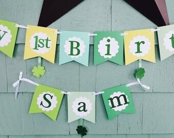 St. Patrick's Day Shamrock Birthday banner greens yellows colors customizable