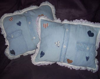 Memories Forever Pillows Made From Your Keepsakes, Upcycled T-Shirts, Sweatshirts, Handmade, Home Decor, Home and Living, Cushion,