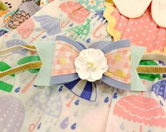 M2M Made to Match Matilda Jane The Adventure Begins Felt Bow Headband or Clip, Under Blue Skies Dress, Raindrops Dress