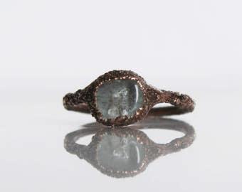 Aquamarine ring / Aqua clear / Natural crystal ring / raw crystal ring / Electroformed / Raw Aquamarine ring