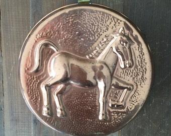 Vintage Bronze Horse Cake Pan Mould Bronze
