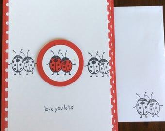 Love, Valentine, Anniversary, Lady Bugs, Handmade, stampin up, card