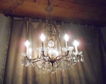 Enchanting European Or Spanish Brass & Crystal Chandelier 8 Light Ornate Assorted Prisms Captivating Vintage Hollywood Regency