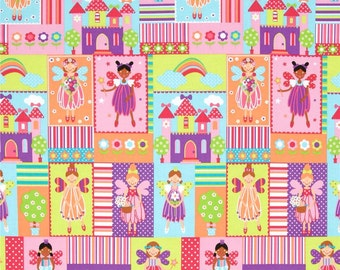 Princess Charming Fairy Squares brite - Michael Miller - by the continuous YARD