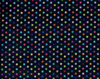 Urban Elementz Dots fabric - black with rainbow polka dots - Northcott - by the continuous YARD