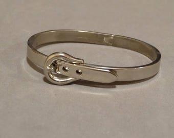 Vintage Silver Bangle Bracelet Belt Buckle Style Adjustable Size Retro Jewelry