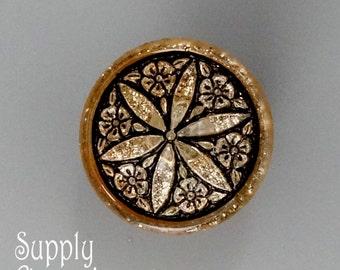 18mm Gold With Black Star Flower Czech Glass Button, 3548, 18mm Gold With Black Star Czech Glass Button, 1 Piece - Star Button