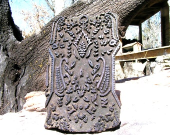 Old Hand Carved Fabric Stamping Ink Block Nepal