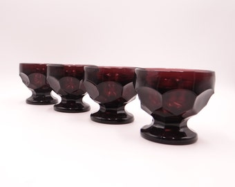 Set of Four Anchor Hocking Georgian Amethyst Sherbet Dishes Pudding Cups Footed Dessert Dishes