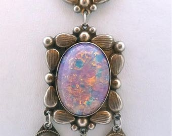 "Mexican Silver and ""Opal"" Demi Parure"