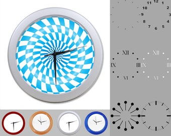Blue Radial Wall Clock, Abstract Neon Design, Artistic Linear, Customizable Clock, Round Wall Clock, Your Choice Clock Face or Clock Dial