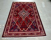 1980s Hand-Knotted Vintage Josheghan Persian Rug (3607)
