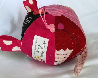 Jingle Fabric Tag Ball Baby Crib Toy Pink Cupcakes