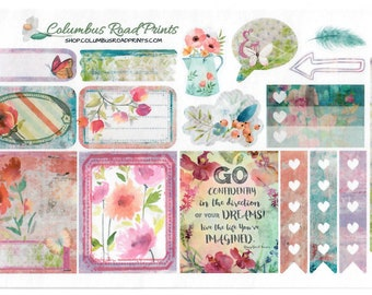 """Planner stickers, """"So Bohemian"""" Planner Stickers, fits Erin Condren Vertical Life Planner, fits ECLP, Stickers, Romantic Bohemian"""