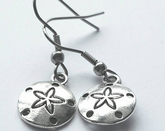 Silver Sand Dollar Earrings with Stainless Steel Earwires - Tibetan Silver - ocean - vacation - sea life - sanddollar