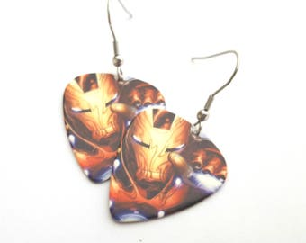 Ironman Guitar Pick Earrings with Stainless Steel Earwires