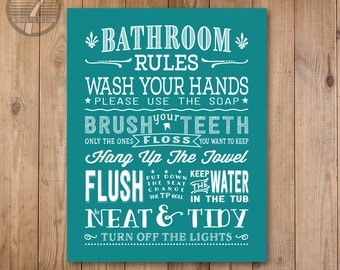Kids Bathroom Rules Art Print, Pre Teen, Bathroom Subway Typography Wall Art  Print