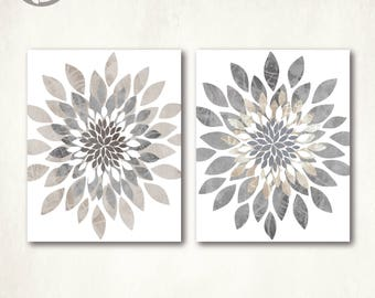 Modern Flower Bursts Neutral Colors Fine Art Print Set of (2) 5x7, 8x10, 11x14 or 16x20 // Gray Tan Beige // Cottage, Home Decor - Unframed