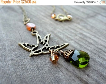 ON SALE Bronze Handmade Orange Carnelian Bird Pendant with Green Wire Wrapped Crystal Bead Charm Accent Necklace