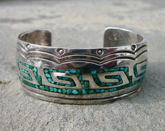 Gibson Gene Bracelet Navajo, Navajo Chip Inlay, Turquoise Chip Bracelet, Navajo Turquoise Bracelet, Native American Turquoise Jewelry
