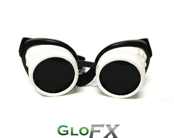 GloFX White Steampunk Padded Goggles Rubber Pads Rave Welding Cyber Punk Goth Dieselpunk Desert Playa Burning Glasses