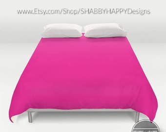 Solid Color FUSCHIA /Choice of Duvet Cover or Comforter / Bedding Modern Minimalist Basic Art 2nd ships Free! Full,Queen (XL Twin) & King