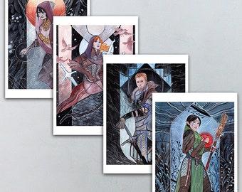 Morrigan, Leliana, Alistair Theirin, & Merrill Dragon Age 5x7 Prints