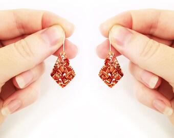 Copper Glitter Spear Point Dangles