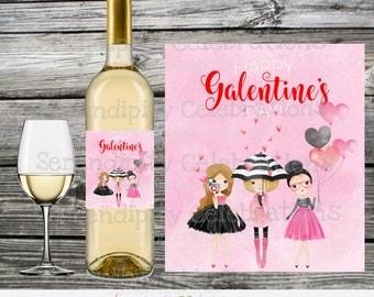 Instant Download, Printable Wine Label, Galentines Day, Friends Valentines Day, Valentine's Wine Bottle Label, Wine Label, DIY wine label