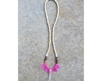 Pink spike horn necklace