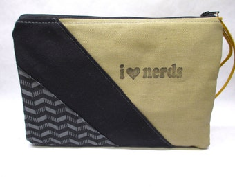 I Love Nerds Zipper Bag / Hand Made Clutch /